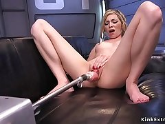 Blonde takes machine and squirts
