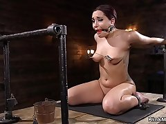 Babe in device bondage nipples pulled