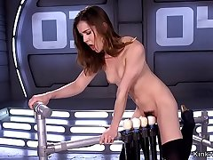 Brunette riding five vibrators device