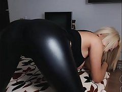 sexy girl in leather leggings