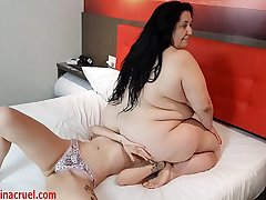 Humiliated and Squeezed Between Joyce&acute_s Huge Ass and Tits