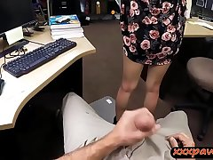 Slutty coed drilled by naff pawn keeper in his office