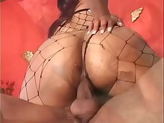 Honey skin slut Kandi Kream in sexy lingerie and boots gets her cunt boned and face jizzed