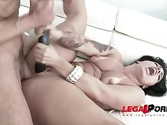 Big butt latina slut Monica Santiago assfucked by four men &amp_ double penetration