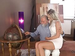 OLD4K. Old pedagogue uses chance to make love with thankful girl