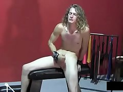 beautiful boy jerk in bdsm room