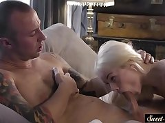 Tiny stepdaughter blows before fleshly banged