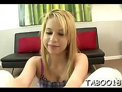 Excellent teen takes fun sucking dick in pov action