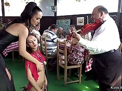 Euro brunette fucked in restaurant