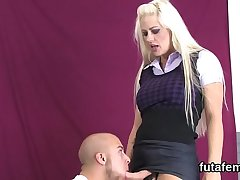 Sweeties plow guys anal with massive strap-ons and squirt cream