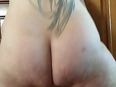 Bbw fucking herself in the ass with Shane diesel dildo