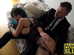 Succubus Alexxa Vice hammered into submission and fed jizz