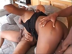 Busty honey skin slut gets double penetrated and jizzed in the lousy room