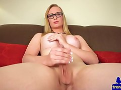 Gorgeous spex tgirl tugging her hard rod