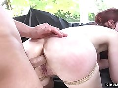 Deep throat redhead botheration pounded