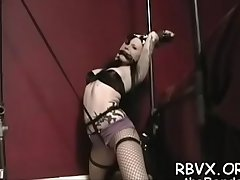 Ballgagged plus unable to move, this doxy gets stimulated