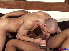 Muscle stud doggystyled after foreplay