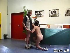 Skinny dilettante doxy gets licked and rides an old dick wildly