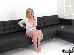 Unfaithful british mature lady sonia shows her massive knockers