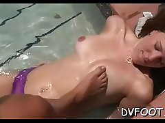 Naughty playgirl grinds dick with hawt feet while rubbing cunt