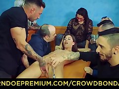 CROWD BONDAGE - Group spanking together with domination for Anya Krey