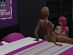 Two lesbian gothic fucked with strapon and they give each other a lot of love