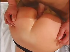 Whore in stockings gets her ass pounded