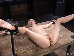 Spreaded legs blonde in bdsm vibrated