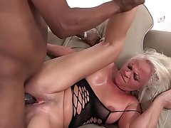 White mature has multifaceted orgasms during sex with black man