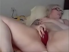Teen plays with Fat Dildo