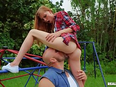 Slim redhead gets fucked rough in the playground