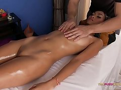 Gorgeous Asian ass oiled and massaged