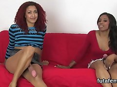 Cuties screw guys ass hole with big strap-ons and blast jizz
