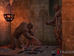 BRUTAL ORGY IN THE DUNGEON. Only slightly one knows about Selina'_s passion. 3D animation