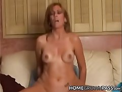 Busty amateur lady rides a cock coupled with receives creampie