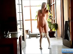 Young cutie girl Alana plays naked in the hallway and touch her bald pussy tender