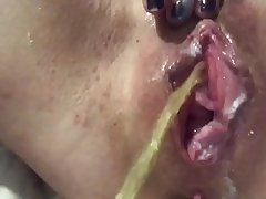 Post fuck pissing and cream pie