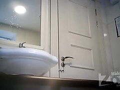 Spy cam in women'_s toilet - Blonde in black women's knickers