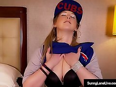 Sunny Lane Loves The Chicago Cubs &amp_ Her Wet Pussy!