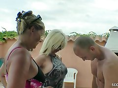 GERMAN MOTHER AND HER STEP-SISTER Soft-soap YOUNGER GUY TO FUCK