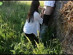 Amazing German Brunette Takes Hot Creampie Outdoor