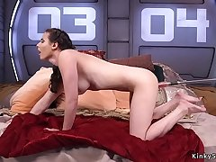 Babe takes machines up her tight ass
