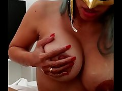 Xania Lombar - Handjob with oil and my bigtits loaded with breast milk for my master and husband Xathaniel