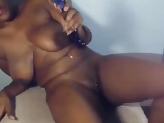 Funny Curly ebony with natural big busty and long nails